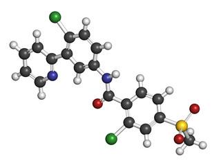 Vismodegib cancer drug molecule.
