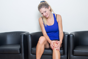 Woman waiting for sports doctor