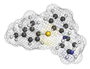 Vortioxetine antidepressant drug molecule.