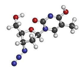 Zidovudine (azidothymidine, AZT) HIV drug molecule.