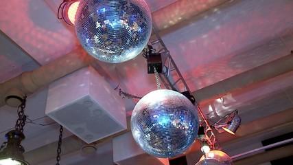 Mirrored disco balls at the nightclub.