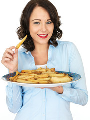 Young Woman Holding a Tray of Roast Parsnips