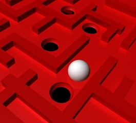 labytinth game red maze white ball and holes