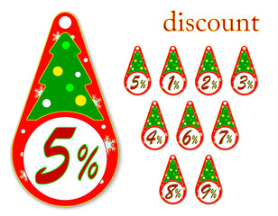 labels with Christmas tree for new year's discounts