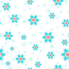 seamless Christmas background with snowflakes and hearts