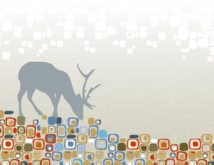 Abstract deer in wilderness design motif.