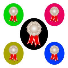 silver award ribbons vector