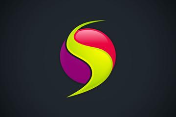 3D S letter round swirl logo vector