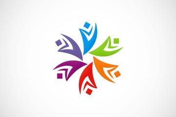circle diversity colorful abstract logo vector
