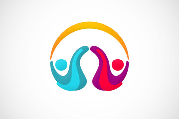 partner kid play abstract logo vector