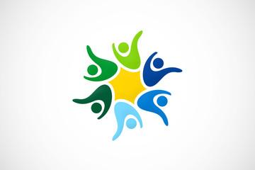people circular teamwork logo vector