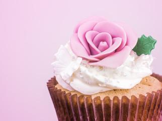Sweet cupcake processed in purple tone