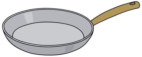Hand drawing of a stainless steel pan - vector illustration