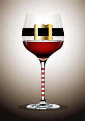 Vector of Wine glass with Santa belt