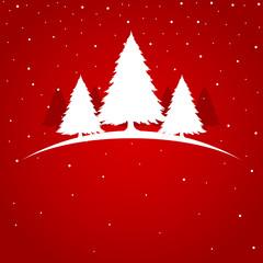 Symbolic illustration of Christmas tree on red background