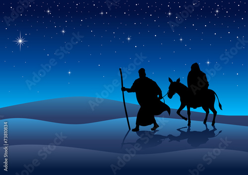 Zdjęcia na płótnie, fototapety, obrazy : Silhouette illustration of Mary and Joseph, journey to Bethlehem