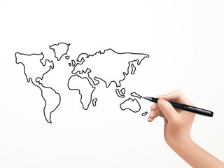 global map drawn by human hand