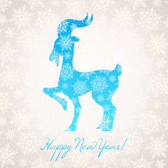 card with new year goat and snowflakes