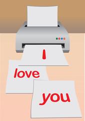 I Love You on Printer Paper Vector Illustration