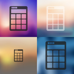calculator icon on blurred background