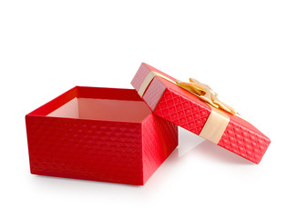 Red open empty gift box clipping path.