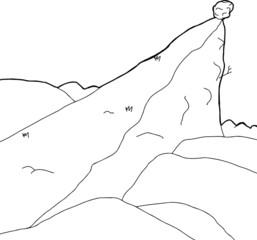 Outlined Boulder on Cliff