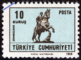 Equestrian statue of Ataturk at Zonguldak (Turkey 1968)