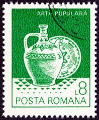 Pitcher and ceramic plate from Oboga and Horezu (Romania 1982)