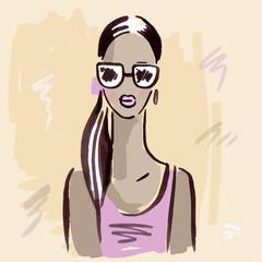 Fashion girl.  Hand drawn Portrait.