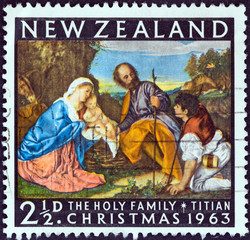 The Holy Family by Titian (New Zealand 1963)