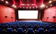 Leinwanddruck Bild - Empty movie theater with red seats