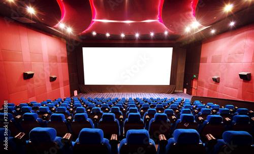 Leinwanddruck Bild Empty movie theater with red seats