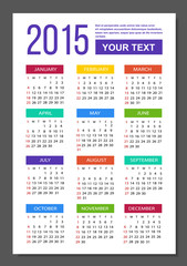 Calendar 2015 metro style