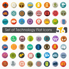 Set of technology flat icons