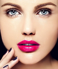 sensual beautiful model with  makeup colorful lips