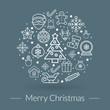 Christmas greeting card, icons and symbols