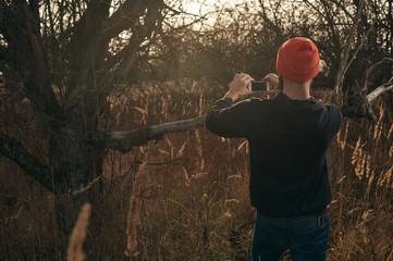 bearded lumberjack with smartphone