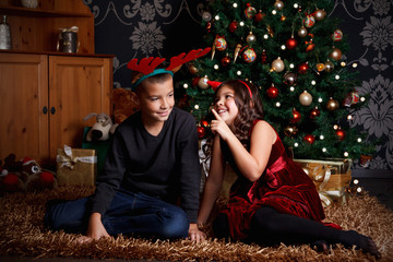 Funny children at Christmas