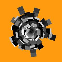 abstract 3d shape in striped pattern on orange