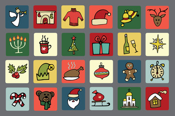 New year,Christmas icons set