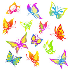 Beautiful  butterfly  icon  set.