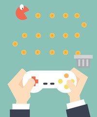 businessman play game pacman - Self Development  and layoff conc