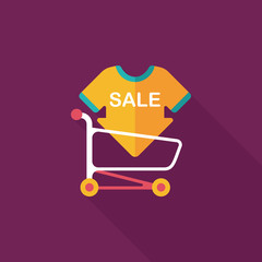 shopping sale sign board and cart flat icon with long shadow,eps