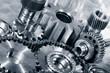 industrial cogwheels, bearings, titanium and steel