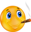 Emoticon smiley smoking cigar