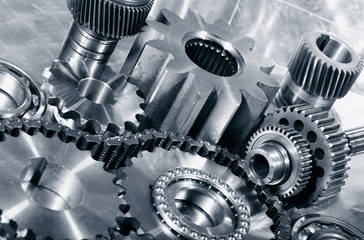 industrial cogwheels, bearings, titanium and steel