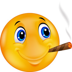 Emoticon smiley smoking cigar