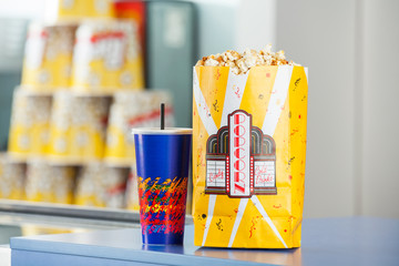 Snacks On Concession Counter At Cinema