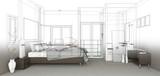 Fototapety sketch design of bedroom ,3dwireframe render