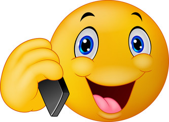 Emoticon smiley talking on cell phone